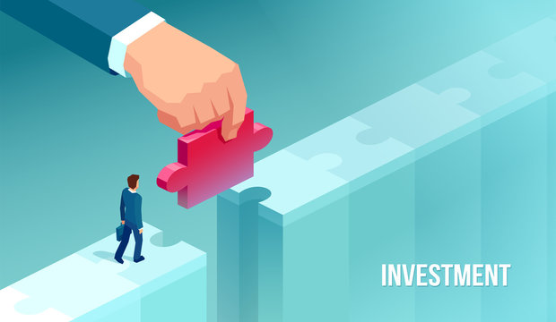 Vector of a businessman supported by unknown investor giving him opportunity making bridge with jigsaw puzzle