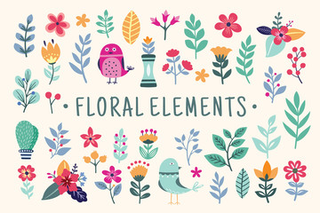 Beautiful colorful Floral Elements set