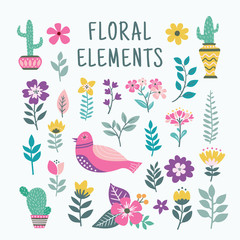 Beautiful colorful floral element set