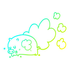 cold gradient line drawing cartoon smelly pig