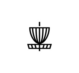 Disc golf basket vector isolated flat illustration. Disc golf basket icon
