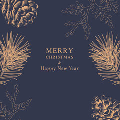 Merry Christmas and Happy New Year - Pine Greeting Card
