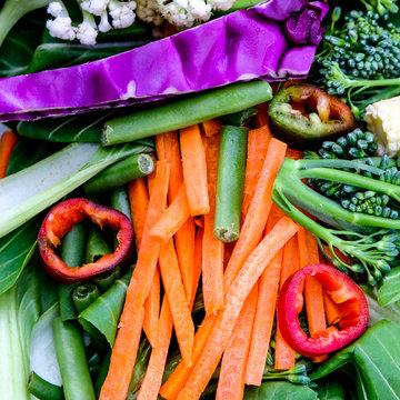Selection of Healthy Raw Vegetables