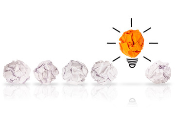 Creative Idea Solution Concepts Light Bulb with Crumpled Paper on White Background