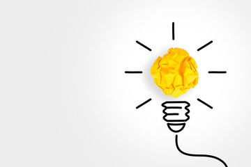 New Idea Concepts Light Bulb with Crumpled Paper on White Background