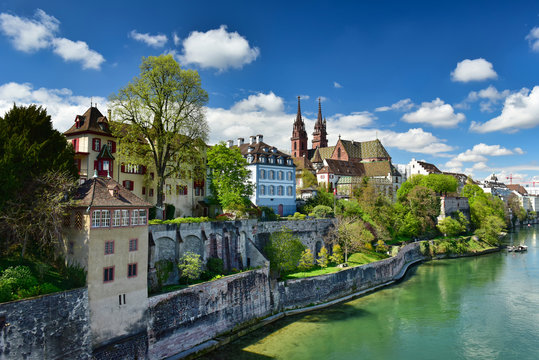 View of the historical neighborhood Grossbasel. City of Basel, Switzerland.