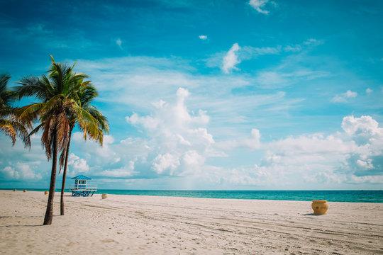 tropical beach with lifeguard cabin, Florida, USA