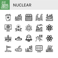 Set of nuclear icons such as Nuclear power, Radioactive, Factory, Hydro power, Geothermal energy, Quantum, Atomic energy, Atomic, Tidal, Submarine, Gas mask, Power plant , nuclear