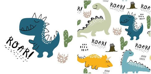 set of cute dinosaur print and seamless pattern with dinosaurs. vector illustration Wall mural