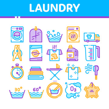 Laundry Service Vector Thin Line Icons Set. Laundry Service, Washing Clothes Linear Pictograms. Laundromat, Dry-Cleaning, Launderette, Stain Removal, Ironing Color Contour Illustrations