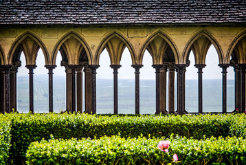 Mont Saint Michel, France - June 28, 2012. Garden in famous historic cathedral