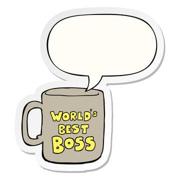 worlds best boss mug and speech bubble sticker