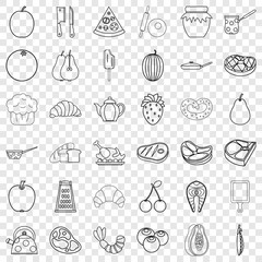 Food icons set. Outline style of 36 food vector icons for web for any design
