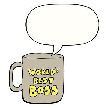 worlds best boss mug and speech bubble