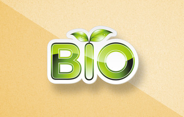"Eco branding concept with word ""BIO"" on paper background"