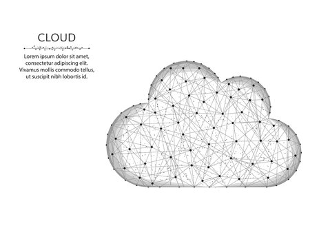 Cloud low poly design, weather in polygonal style, cloud server wire frame vector illustration on a white background