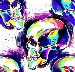 Poster Crâne aquarelle Seamless pattern Human skull, colorful drawing, sketch. Skull, death, magic.