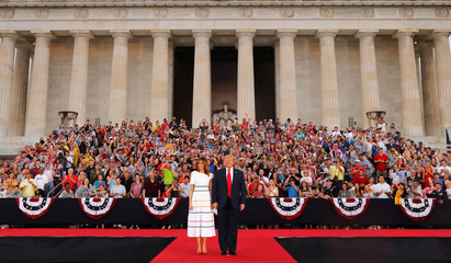 "U.S. President Donald Trump and first lady Melania Trump arrive for the ""Salute to America"" event during Fourth of July Independence Day celebrations at the Lincoln Memorial in Washington"