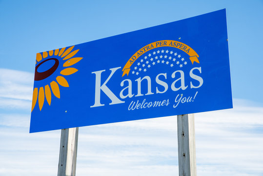 Welcome to Kansas highway sign