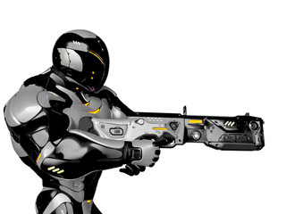 sci fi astronaut cartoon with a laser gun side view in a white background