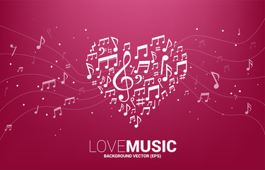 Vector music melody note shaped heart form . Concept background for song and love music concert theme.