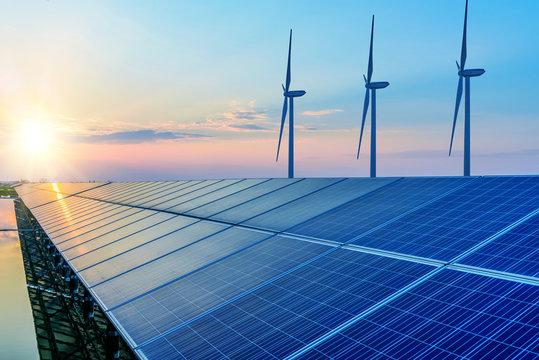 Solar panels and wind power generation equipment