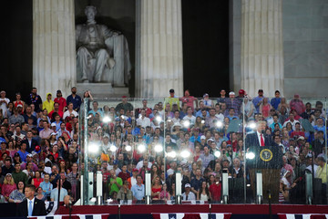 U.S. President Donald Trump gives his Fourth of July speech at the Lincoln Memorial in Washington