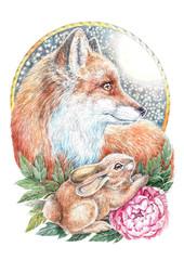Watercolor, fox and rabbit, peony flowers