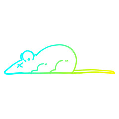 cold gradient line drawing cartoon dead rat