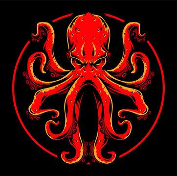 red octopus vector