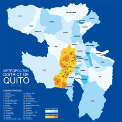 Map with the political division of the QUITO METROPOLITAN DISTRICT includes the urban and rural parishes on a blue background. Vector image