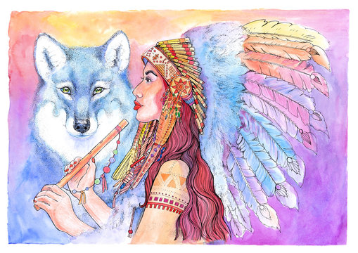 Watercolor Native American, woman with flute and wolf