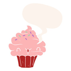 cute cartoon frosted cupcake and speech bubble in retro style