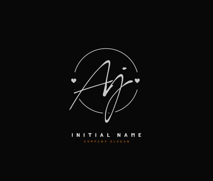 A J AJ Beauty vector initial logo, handwriting logo of initial signature, wedding, fashion, jewerly, boutique, floral and botanical with creative template for any company or business.