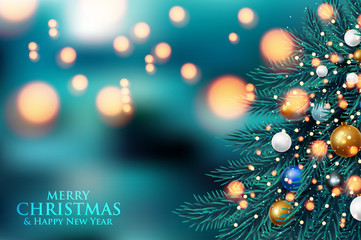 Christmas tree light background. Vector illustration