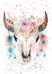Boho Bull Skull Watercolor