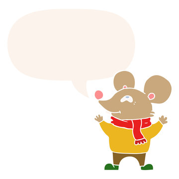 cartoon mouse wearing scarf and speech bubble in retro style