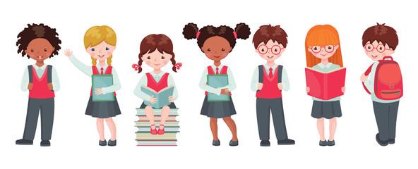 Vector set of pupils with school supplies.