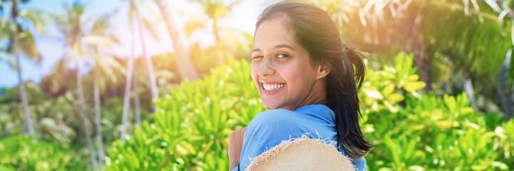 Photo Stands Melon Portrait beautiful romantic woman lacy dress beach