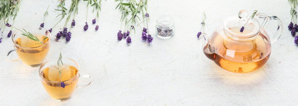 Healthy herbal tea and Lavender flowers