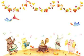 動物の音楽隊 秋 背景