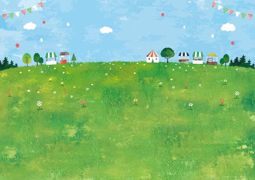 マルシェと草原の風景油彩