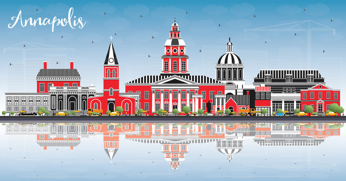 Annapolis Maryland City Skyline with Color Buildings, Blue Sky and Reflections.