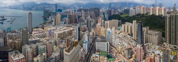 Top view of Hong Kong city Wall mural