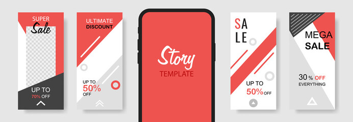 Trendy editable template sale banner for social networks stories. Design backgrounds for social media, landing page, website, mobile app, poster, flyer, coupon, gift card, web design