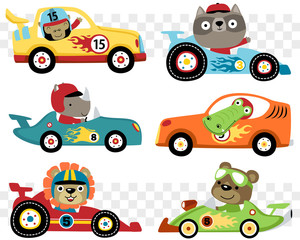 Deurstickers Cartoon cars Vector set of cars race cartoon with funny racer