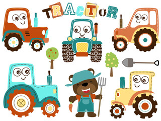 Vector set of tractor cartoon with funny farmer