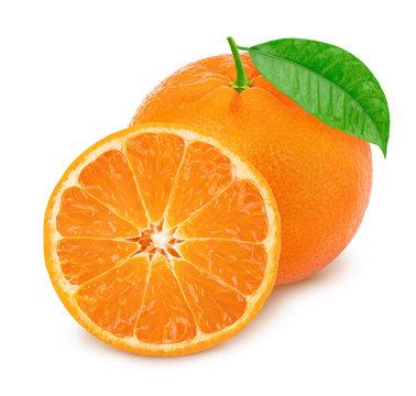 Whole and halved mandarines isolated on white background.