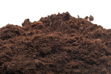 pile of soil isolated on white background - Image . Wall mural