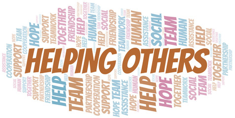 Helping Others word cloud. Vector made with text only.